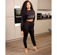Plus Size Letter Print Long Sleeve Top+Tank+Pants 3 Piece Sets YWF-1822