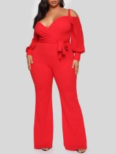 Plus Size Solid Off Shoulder Long Sleeve Flare Jumpsuit CYA-1494