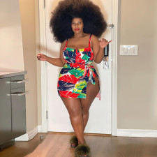 Printed Plus Size Sexy Bodysuit And Short Skirt  Two Piece Sets CYA-1529