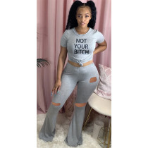 Letter Print T Shirt Hole Flared Pants 2 Piece Sets YWF-1820