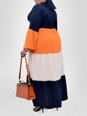 Plus Size Contrast Color Long Sleeve Maxi Dress Without Belt CYA-1506