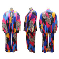 Plus Size Casual Printed Long Sleeve Wide Leg Pants Set CYA-1490
