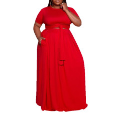 Plus Size Solid Short Sleeve Big Swing Maxi Dress CYA-1496