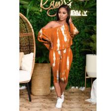 Casual Printed Oblique Shoulder Capri Pants Set MOF-6627