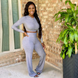 Solid Long Sleeve V Neck Two Piece Sets YWF-1821