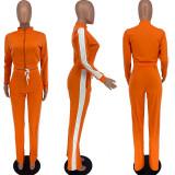 Casual Long Sleeve Zipper Top Split Pant 2 Piece Sets YWF-1834