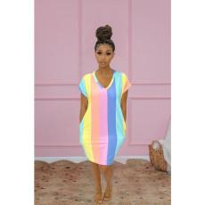 Casual Rainbow Stripe Dress LSD-9167