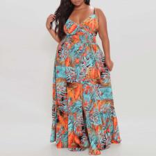 Plus Size Floral Print Big Swing Strap Split Maxi Dress CYA-1505