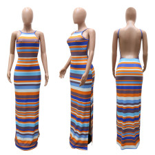 Colorful Striped Backless Split Maxi Dress CYA-9030