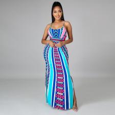 Sexy Printed Spaghetti Strap Split Maxi Dress CYA-9022