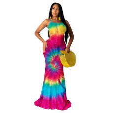 Tie Dye Print Cross Strap Backless Maxi Dress YWF-1818