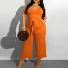 Plus Size Solid Sleeveless Wide Leg Jumpsuit CYA-1555