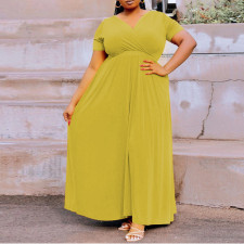 Plus Size Solid V Neck Big Swing Maxi Dress CYA-1513