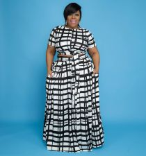 Plus Size Casual Printed Long Skirt 2 Piece Sets WAF-7189