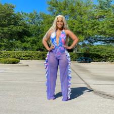 Fashion Print Bodysuit And See-through Pants Two Piece Sets CYA-8993