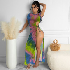 Sexy Tie Dye Print High Split Maxi Dress YN-1093