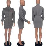 Letter Print Long Sleeve Zipper Mini Dress YWF-1832