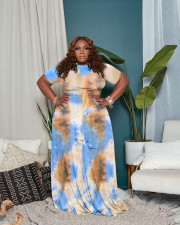 Plus Size Tie Dye Short Sleeve Maxi Skirt 2 Piece Sets WAF-7191