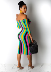Sexy Colorful Striped Half Sleeve Midi Dress LUO-3008