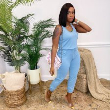 Casual Solid Sleeveless Jumpsuit OXF-8070