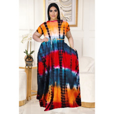 Plus Size Printed Short Sleeve Big Swing Long Skirt 2 Piece Sets LDS-3276