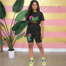 Pink Letter Print T Shirt And Shorts 2 Piece Sets WTF-9124
