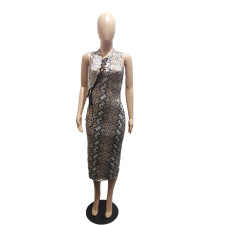 Snaki Skin Print Lace Up Hollow Midi Dress BLI-2307