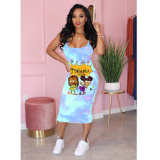 Plus Size Cartoon Print Spaghetti Strap Midi Dress YNB-7063