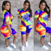 Tie Dye Letter Print Casual 2 Piece Shorts Set BLI-2311