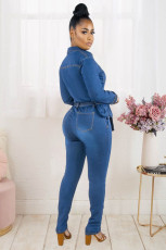 Plus Size Denim Long Sleeve Sashes Jeans Jumpsuit WIth Waist Bag LX-6052