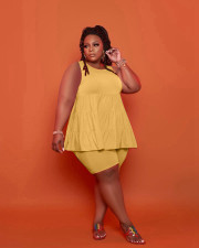 Plus Size Solid Sleeveless Two Piece Shorts Set LP-6291