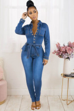 Plus Size Denim Long Sleeve Sashes Jeans Jumpsuit WIth Waist Bag LX-6052