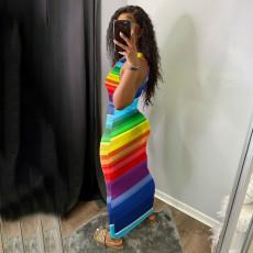 Rainbow Stripe Sleeveless Hole Maxi Dress WTF-9130