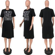 Letter Print Casual Short Sleeve Midi Dress YJF-8383