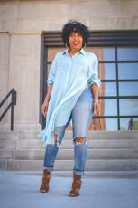 Casual Loose Solid High Split Shirt Dress OLYF-6062