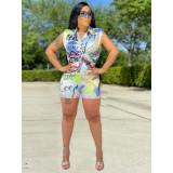 Plus Size Printed Sleeveless Shirt Shorts 2 Piece Sets YIY-6009