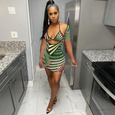 Sexy Printed Mini Dress+Bra Top 2 Piece Sets NLAF-6057