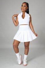 Casual Solid Sleeveless Pleated Mini Skirt 2 Piece Sets JPF-1039