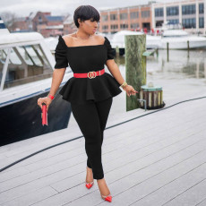 Solid Ruffled Peplum Top Pants 2 Piece Suits (Without Belt) CM-2130