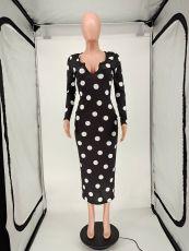 Polka Dot Print Full Sleeve Long Dress NLAF-6030