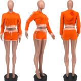 Casual Sports Hooded Zipper Long Sleeve 2 Piece Short Sets BLX-8215