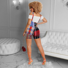 Casual Plaid Crop Top+Strap Romper 2 Piece Sets GLF-8144