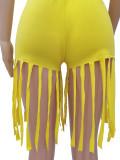 Casual Solid Short Sleeve Tassel Shorts 2 Piece Sets CM-2132