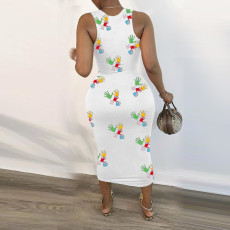 Casual Printed Sleeveless Long Dress NLAF-6046
