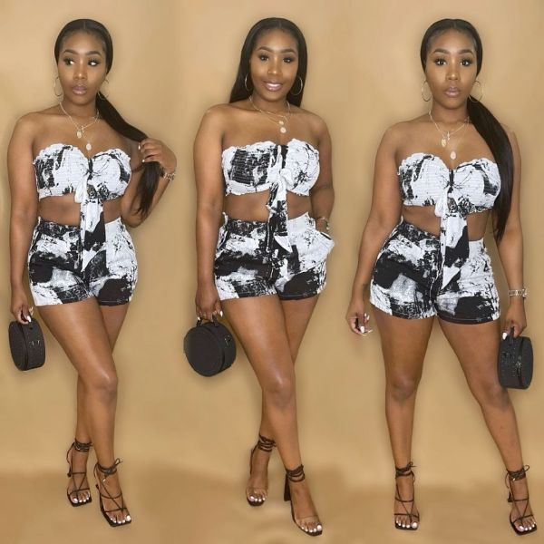 Sexy Printed Tube Top And Shorts 2 Piece Sets ANNF-6079