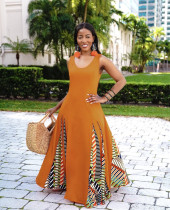 Trendy Patchwork Sleeveless Big Swing Maxi Dress CM-2119
