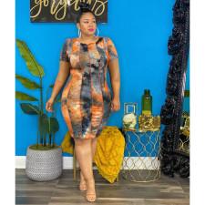 Plus Size Tie Dye Print Short Sleeve Dress YIM-191