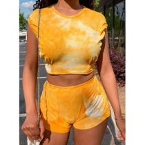 Tie Dye Print Casual Two Piece Shorts Set YWF-1848