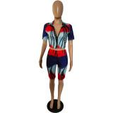Tie Dye Zipper Short Sleeve Two Piece Suits YSYF-7521