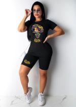 Casual Printed T Shirt And Shorts 2 Piece Sets PQF-8040